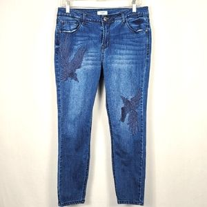 Kensie Jeans Embroidered Phoenix Skinny Jean SZ 10